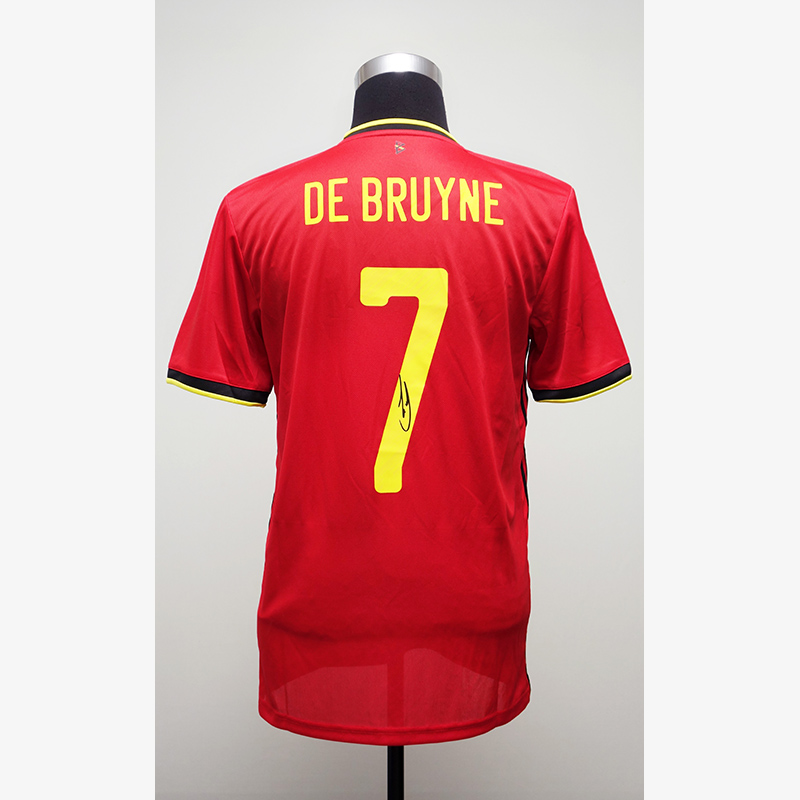 デ・ブライネ直筆サイン入りベルギー代表20/21ホームユニフォーム
